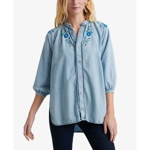 Lucky Brand Embroidered Button Top Peasant Shirt